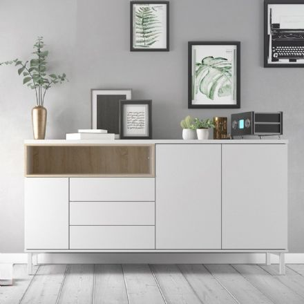 Roomers Sideboard in White and Oak
